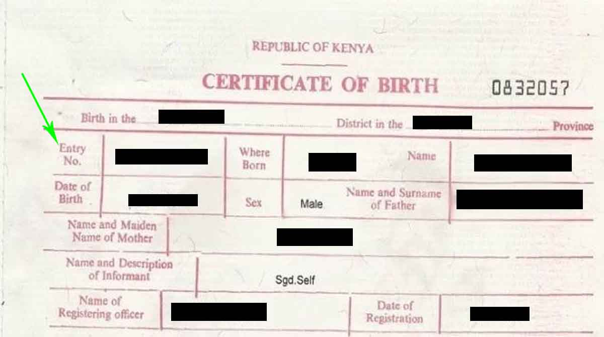 Where Is The Entry Number On A Birth Certificate Kenya